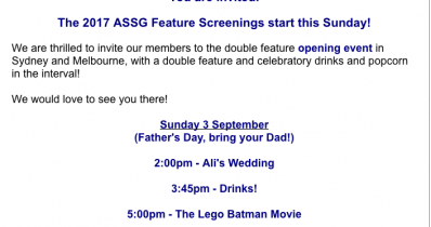 The 2017 ASSG Awards Feature Screenings opening event!